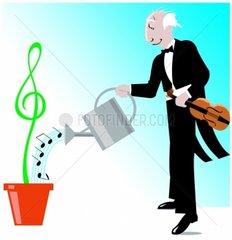 Musik Dirigent Geiger Noten Symbol