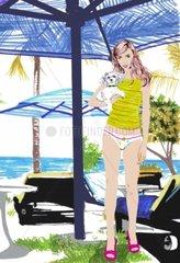 Junge Frau am Strand Strandleben Sommer Sonneschirme Huendchen