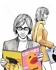 Paar Leser Zeitschrift Shopping