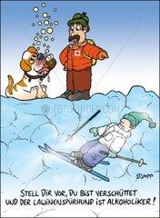 Lawinenspuerhund Witz Serie Winterwitze
