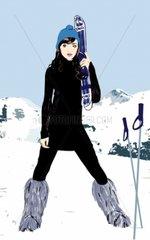 Ski chic Apresski Skifahrerin Berge Alpen Schnee Weihnachtsferien