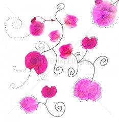 Blumenmuster 2 Blueten zart Pink