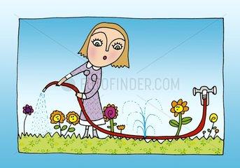 Inkontinenz Symbol Gartenschlauch giessen