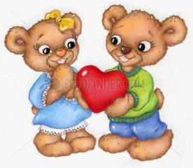 Baeren Paerchen Herz schenken Liebe Gluecksbaerchen Serie