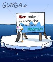 GUNGA Comicserie Eislaufbahn Pinguin Treibhauseffekt Erderwaermung Schmelze