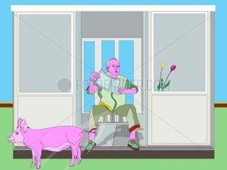 Mr. Pink Schweinegrippe Isolation