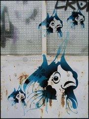 Sternzeichenserie Street Art Fische
