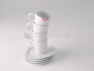 cups with lipstick