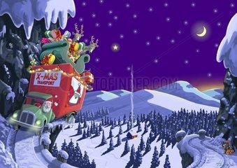 Weihnachtstruck auf Bergstrasse