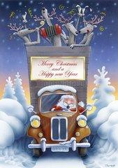 Weihnachtsmann kommt mit Lastwagen