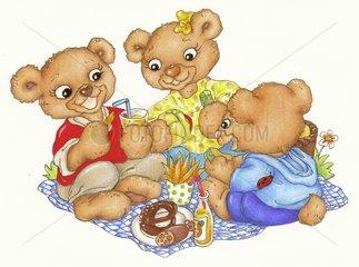 Glueck Baerchen Serie Picknick Familie Sommer