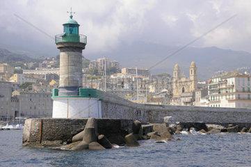 France  Corsica  Bastia harbor  beacon for entry into the harbour