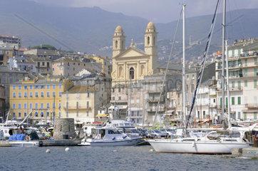 Corsica  Bastia  the ancient port and church St Jean Baptiste