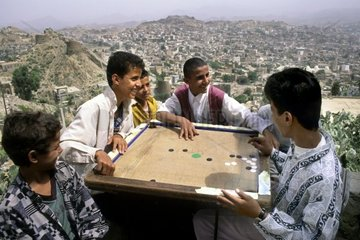 yemen  Ta'izz  Society game near the bus stop