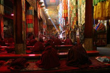 samye monastery: praying monks