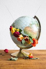 Weltkugel mit Blumen
