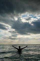 Dominican Republic  national Park de Jaragua  swimmer on the beach