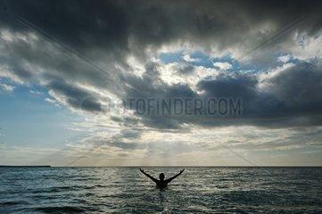 Dominican Republic  national Park de Jaragua  swimmer in the sea