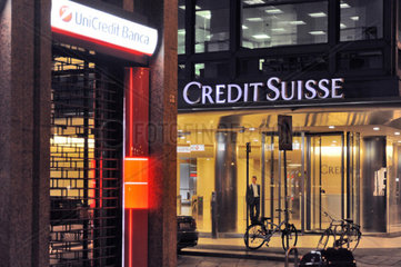 Italy  Milan  bank Credit Suisse and Unicredit bank