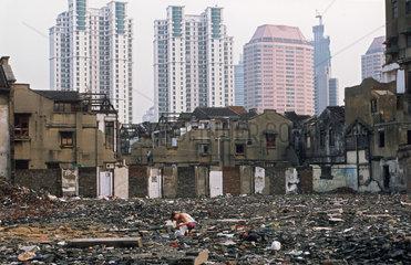 Shanghai  Abriss von alten Wohnvierteln