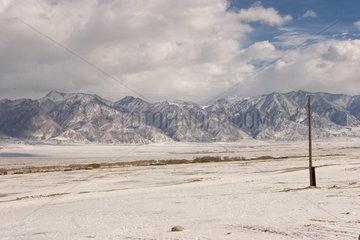 Tashkorgan  Landschaft mit Pamir Gebirge   Tashkorgan  landscape with Pamir mountains