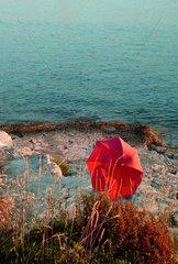 Schirm Sonnenschirm Am Strand in Kroatien Felsenstrand