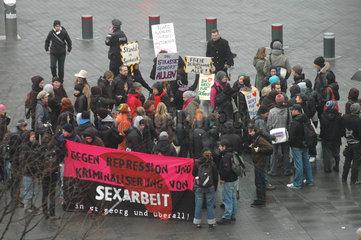 Demo gegen Verdraengung von Sexarbeit