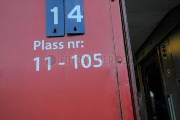 Schlafzug von Trondheim nach Bodo (Norwegen)  Nummern.