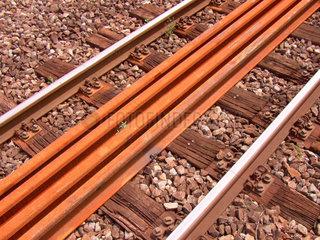 Schienen  neu  alt  Reparatur  Detail.