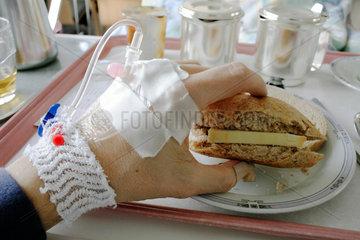 Essen im Krankenhaus.