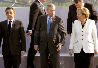 Sarkozy + Hopp Scheffer + Merkel