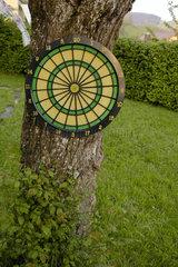 Zielscheibe im Garten.