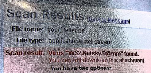 Virus Meldung bei einer E-Mail.
