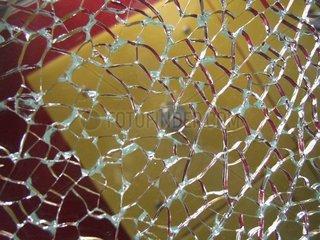 Zersprungene Glasplatte