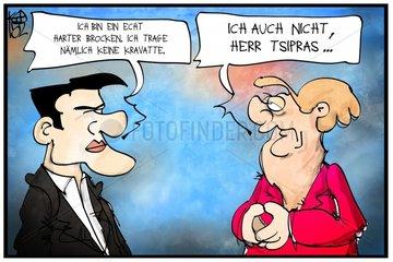 Tsipras und Merkel ohne Kravatte