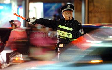China  Verkehrspolizist in Fuzhou  Fujian Provinz