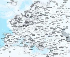 Landkarte Europa mit Staedtenamen