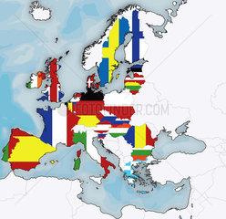 Landkarte Europa mit Flaggen