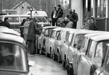 DDR-Fluechtlinge deutsch-tschechische Grenze  9. November 1989