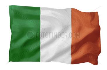 Fahne Republik Irland (Motiv A; mit natuerlichem Faltenwurf und realistischer Stoffstruktur)