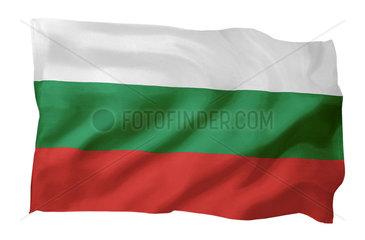 Fahne von Bulgarien (Motiv A; mit natuerlichem Faltenwurf und realistischer Stoffstruktur)