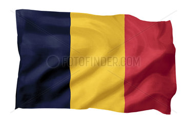 Fahne von Rumaenien (Motiv A; mit natuerlichem Faltenwurf und realistischer Stoffstruktur)