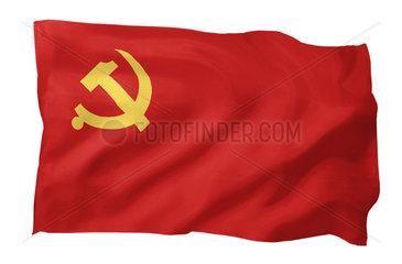 Fahne der Chinesischen Kommunistischen Partei (Motiv A; mit natuerlichem Faltenwurf und realistischer Stoffstruktur)