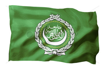 Fahne der Arabischen Liga (Motiv A; mit natuerlichem Faltenwurf und realistischer Stoffstruktur)
