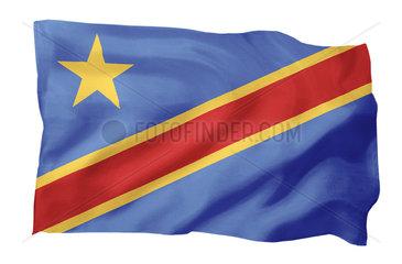 Fahne der Demokratischen Republik Kongo (Motiv A; mit natuerlichem Faltenwurf und realistischer Stoffstruktur)