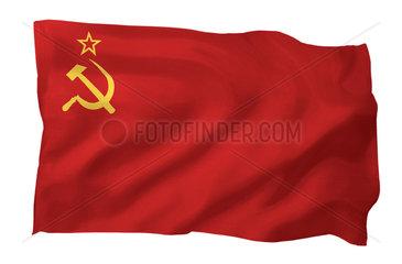 Fahne der Sowjetunion (Motiv A; mit natuerlichem Faltenwurf und realistischer Stoffstruktur)