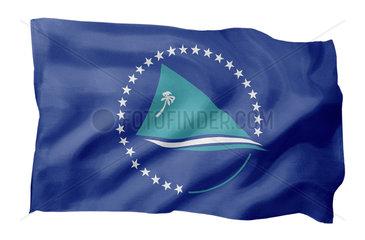 Fahne des Sekretariats der Pazifischen Gemeinschaft SPC (Motiv A; mit natuerlichem Faltenwurf und realistischer Stoffstruktur)