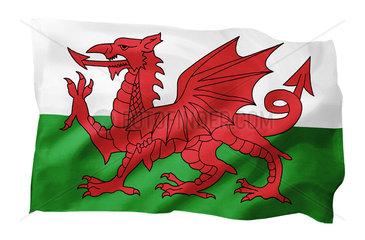 Fahne von Wales (Motiv A; mit natuerlichem Faltenwurf und realistischer Stoffstruktur)