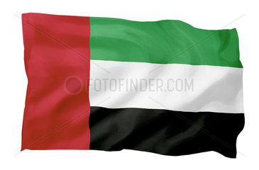 Fahne der Vereinigten Arabischen Emirate (Motiv A; mit natuerlichem Faltenwurf und realistischer Stoffstruktur)