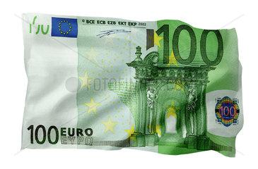 100-Euro-Schein als Fahne (Motiv A; mit natuerlichem Faltenwurf und realistischer Stoffstruktur)